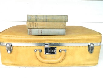 Vintage Suitcase Luggage Yellow Gold Ventura