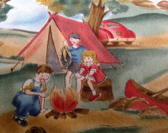 Michael Miller Fabrics Adorable Vintage Camping Kids Fabric Lake Scene, Campsite, Bonfire, Canoe and All.