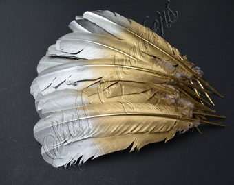 Wholesale / bulk - GOLD & SILVER large long painted turkey feathers quill for wedding party decor millinery /10-14in (25-35cm) long/ FB171GS