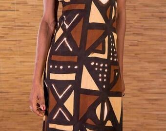Traditional Bogolan dress, mudcloth dress, brown dress, african print, mini dress, deep V neck dress