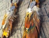 Wooden Hoop Leather Fringe Feather Earrings