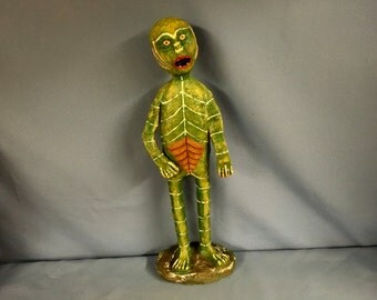 Paper mâché sculpted mid-century Creature from the Black Lagoon movie monster figure