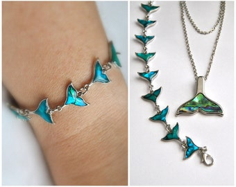 Abalone Jewelry set, Abalone whale tail pendant necklace & Bracelet, Bridesmaids gifts