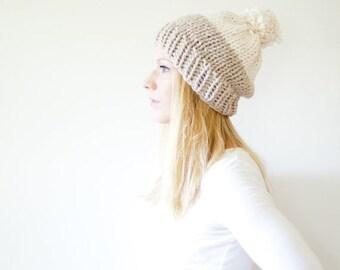 FLASH SALE chunky knit slouchy hat beanie pom hat colorblock - linen / fisherman - the SOLOMON