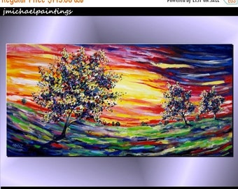 SALE 20% OFF Large Contemporary Abstract Landscape Tree Sunset Acrylic Painting Modern Canvas Art Vivid Colors Over the Bed Couch 24x48 JMic