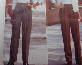 UNCUT 1990's Butterick Sewing Pattern 4725 of High Waisted Pants , Tapered Leg Sizes 12-16