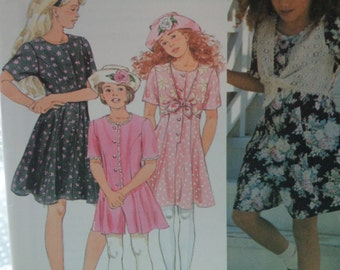 Simplicity 8917, Easy To Sew Girls Size 12 and 14, Button Front Skort Dresses or Rompers, Hat Pattern, Optional Lace Edge Front Tie Vest