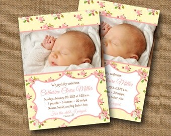 Shabby Cottage Chic Birth Announcement YELLOW Floral DIY PRINTABLE Baby Girl Christian Scripture Bible Verse Photo Announcement