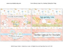 Printable Digital Easter Hershey Candy Wrapper 1. 55 Ounce  Some Bunny Loves You