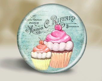 Pocket Mirror or Magnet or button - Cupcake- Mother's Day - Grandma - Nana