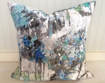 Blue and Grey Watercolor Floral Pillow Covers in Designer Fabric