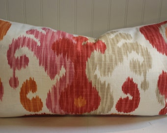 Orange, Pink, Grey and Ivory Ikat Pillow Cover in Braemore's Journey Fruity