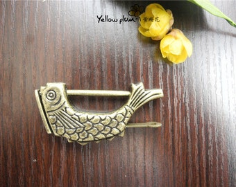 """59*9*30 mm """"Fish"""" Vintage Style antique brass color jewelry box,wooden box lock,padlock with key C008"""