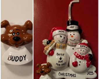 Personalized Brown Dog ADD ON To Any Ornament