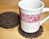 Beaded Wool Coasters BROWN & MAUVE Felted Wool, Upcycled Mug Rugs by SweaterScrapyard