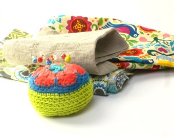 Pincushion - crocheted pin pillow, sewing pins or light paperweight