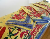 Vintage cotton tablecloth and napkins.  Lot. Table linens.