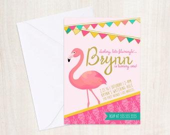 Flamingo Birthday Party Invite - Pineapple Party Invitation - Flamingo Party - Party Supplies