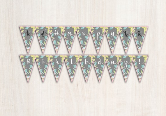 Enchanted Fairy Birthday Banner - Fairy Banner - Party Supplies - INSTANT DOWNLOAD