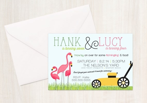Flamingo & Lawn Mower Birthday Party Invite - Joint Party Invitation - Flamingo Party - Party Supplies