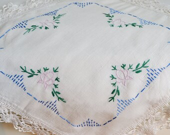 Small embroidered doily with lace, vintage Swedish tablecloth, shabby linen