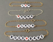 CUSTOM Alphabet Letter Beaded Gold Bracelet also available in Silver Rose Gold