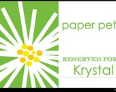 75 Custom paper placemats for Krystal