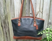 Extra large genuine Coach black tan shopping tote bag