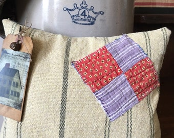 Primitive Saltbox Pillow Tuck- Vintage Red and Purple Quilt Patch- Coverlet fabric wool-Fall- Autumn