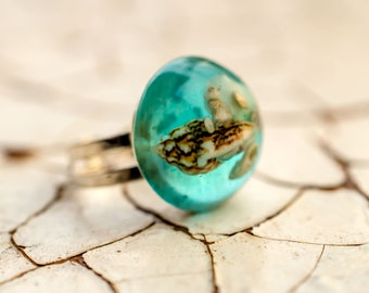 Small ring Real Seashells. Mermaid Ring. Nautical ring. Light blue Ring. Exotic gift Special seashells ring SALE 15% OFF / Free Shipping