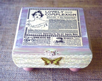 Altered Cigar Box, Mixed Media Art Wood Box, Antique Ad and Lace Decoupage, Distressed Hand-Painted, Flea-Market Vintage Chic