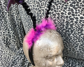 Vintage Halloween Bat Purple and Black Headband with Sequin Embellishment and Marabou Feathers. Average/Standard Adult