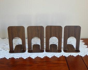 Vintage Bookends Old School Wood Grain Metal Bookends Mid Century Cork Bottom 2 pair