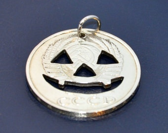 Halloween pumpkin. Cut coin pendant necklace charm. Coincut jewelry 50 kopeck USSR