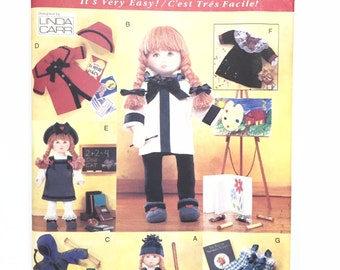 "UNCUT Vogue Craft 9442 18"" Doll Clothes Sewing Pattern Dress Vest Jacket Coat Hat Shirt Boots Skirt Pants Nightgown Jumper"