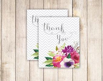 Gray Chevron Watercolor Floral 2x2.5 Favor- Thank You Tag INSTANT DOWNLOAD DIY Printable - 006