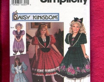 Simplicity 7698 Sizes Daisy Kingdom Victorian Girl's Party Dress & Jumpsuit with Puff Sleeves Large Collar 10..12..14 Girls UNCUT