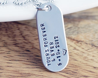 Personalized Mens Necklace, Mens Jewelry, Hand Stamped Pendant Necklace, Gift for Him, Mens Gift, Couples Necklace, Dog Tag Necklace