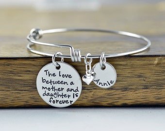 The Love Between And Mother And Daughter, Hand Stamped Bangle Bracelet, Mother/Daughter Bracelet, Bangle Charm Bracelet, Name Bracelet
