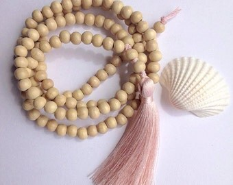long tassel necklace , beachcomber wooden bead pink tassel necklace , beach bohemian bead necklace , inspired by buddhist mala necklace