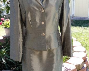 Vintage Olive Green dress jacket Set Size 12, SILK LOOK! Vintage style good condition
