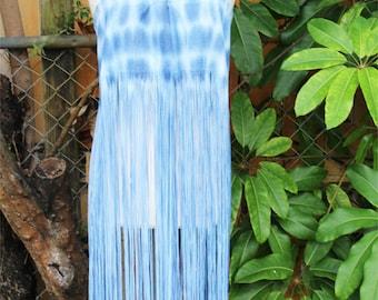 Halter  blue skirt/tube dress fringe cover up