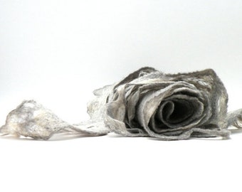 SALE Women scarf - Wool and silk scarf -  grey cobweb wet felted scarf - weddings accsessorie - made to order