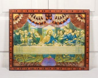Last Supper Lithograph Feather & Butterfly Wing Border Inlaid Wood Frame Made in Brazil