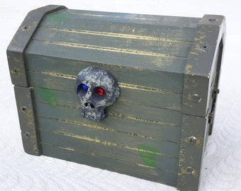 Treasure Chest Skull Day of The Dead Distressed Wooden Box by IndustrialPlanet
