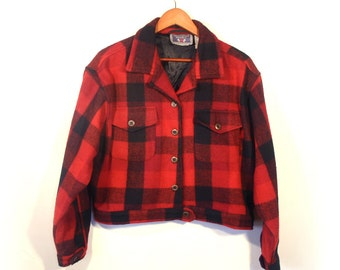 Vintage Buffalo Check Short 80's Wool Jacket by Erika, Black & Red, Fully Lined, Women's size XL