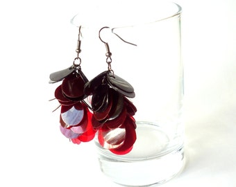 Red and black jewelry gothic earrings made of recycled plastic upcycled earrings repurposed jewelry ombre earrings vampire jewelry