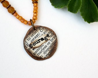 Courage Mixed Media Necklace, Mixed Media Jewelry, Orange Pendant Necklace, Recycled, Short, Pendant, Bohemian Necklace