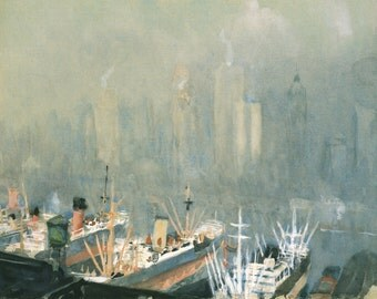 American Art Reproductions: New York Skyline from Brooklyn Harbor, by Joseph Pennell, c. 1921 -  Fine Art Print.