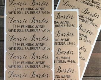 Return Address Labels Kraft - Sticker Labels -Personalized Custom - Hostess, Birthday, Teacher Gift